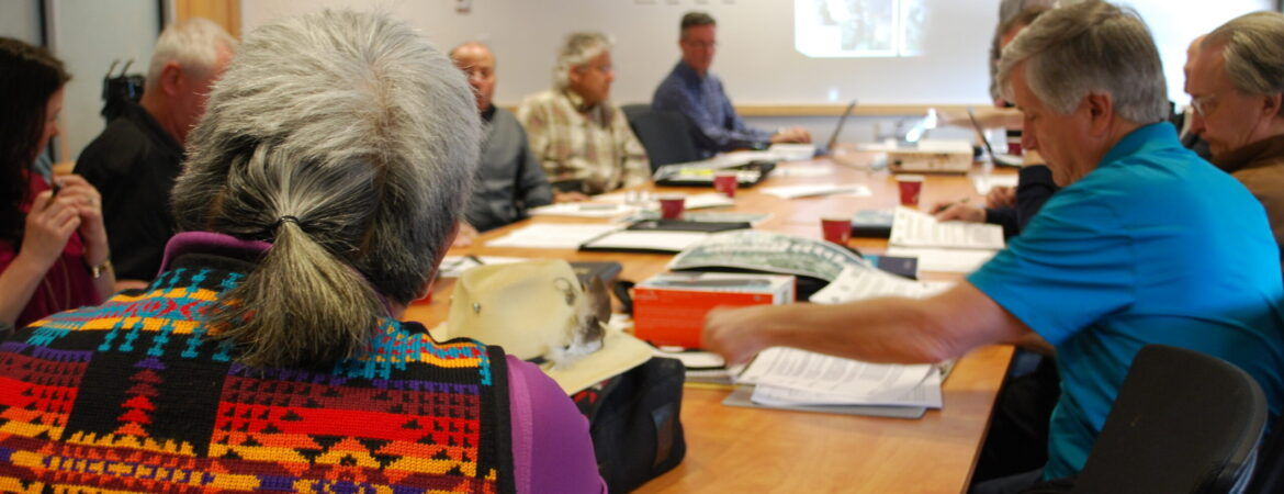Members of the Sicamous-to-Armstrong Rail Trail Corridor Interjurisdictional Governance Advisory Committee in discussions at a meeting held March 15, 2019 at the Splatsin Community Centre. (Tracy Hughes/CSRD photo)