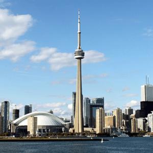 City of Toronto, Canada skyline with a blue sky.