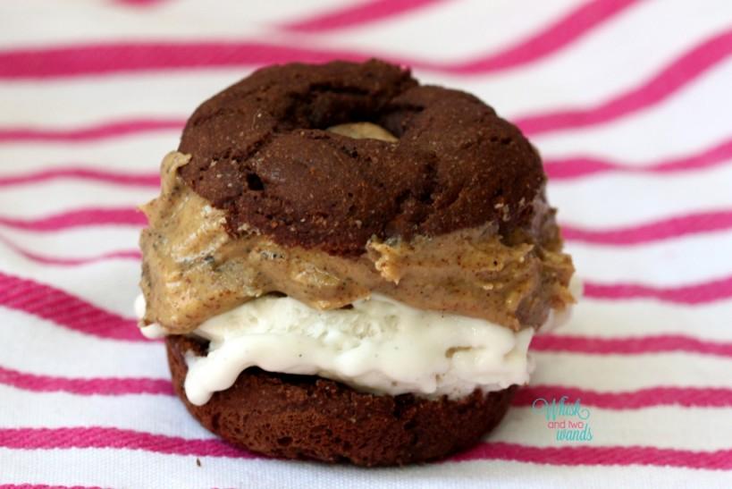 Mini Donut Ice Cream Sandwich So Delicious Vanilla Bean Coconut Milk Ice Cream & Wild Friends Vanilla Espresso Almond Butter Not very pretty as it was the bottom of the jar of almond butter but still delicious!