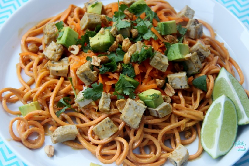 Crunchy Yam Noodles with Spicy PB Sauce With diced Beyond Meat Chicken-Less Grilled Strips