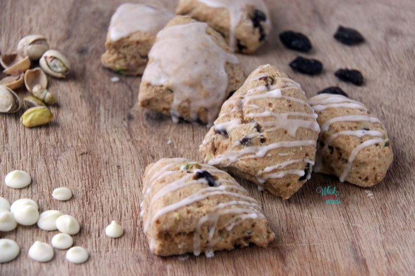 Petite Sour Cherry Pistachio Scones- with icing