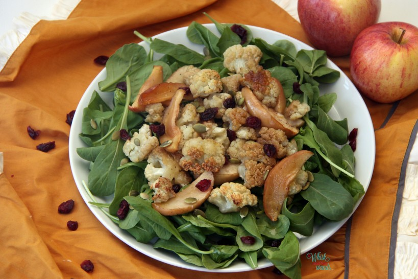 Baked Maple Cauliflower and Apples with Arugula