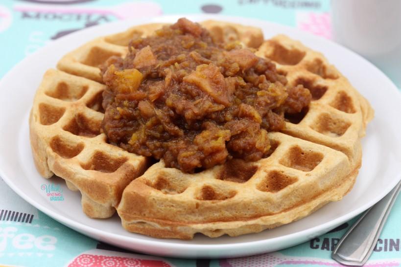 Pumpkin Pie Applesauce is delicious on top of waffles!