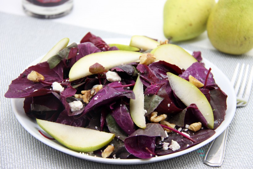 Red Spinach Salad with Pears, Feta, Walnuts and Pomegranate Vinegar