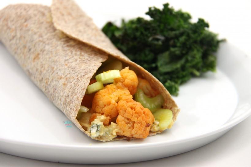Buffalo Cauliflower Wrap with Blue Cheese Hummus