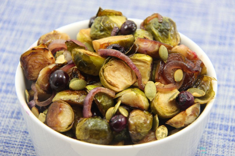 Roasted Brussels with Blueberries