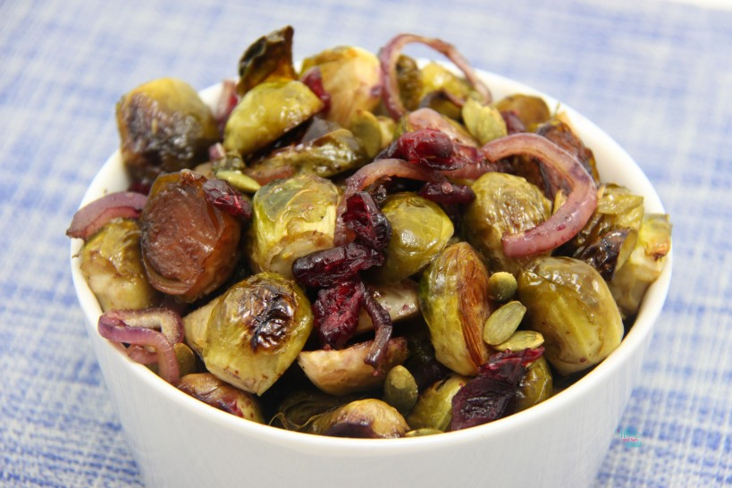 Roasted Brussels with Dried Cranberries