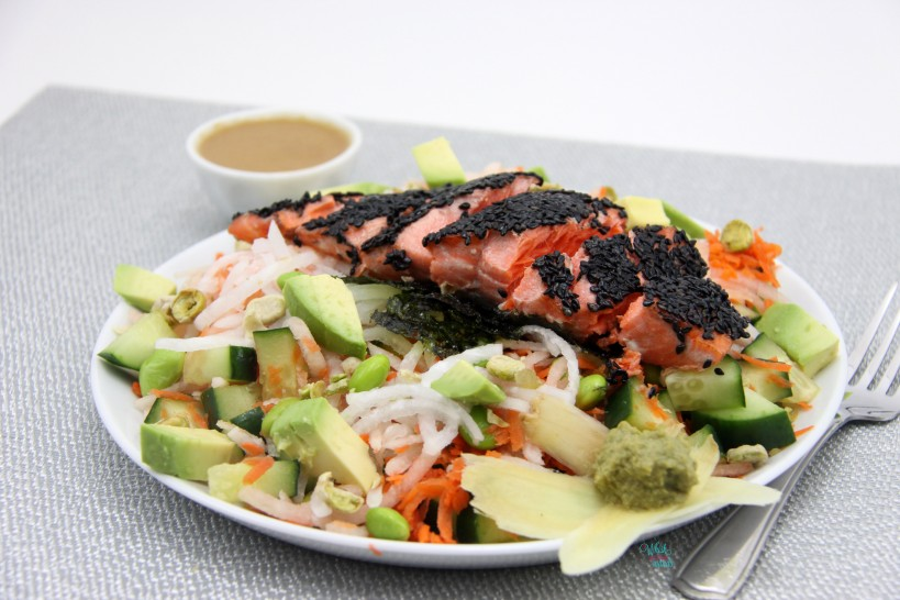 Deconstructed Sushi Salad with Black Sesame Crusted Sockeye Salmon