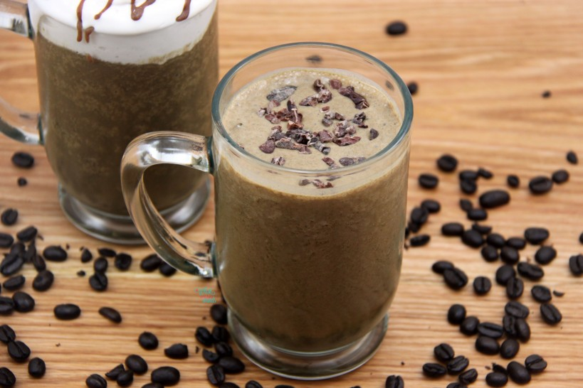 Mocha To The Max Protein Shake topped with Cocoa Nibs