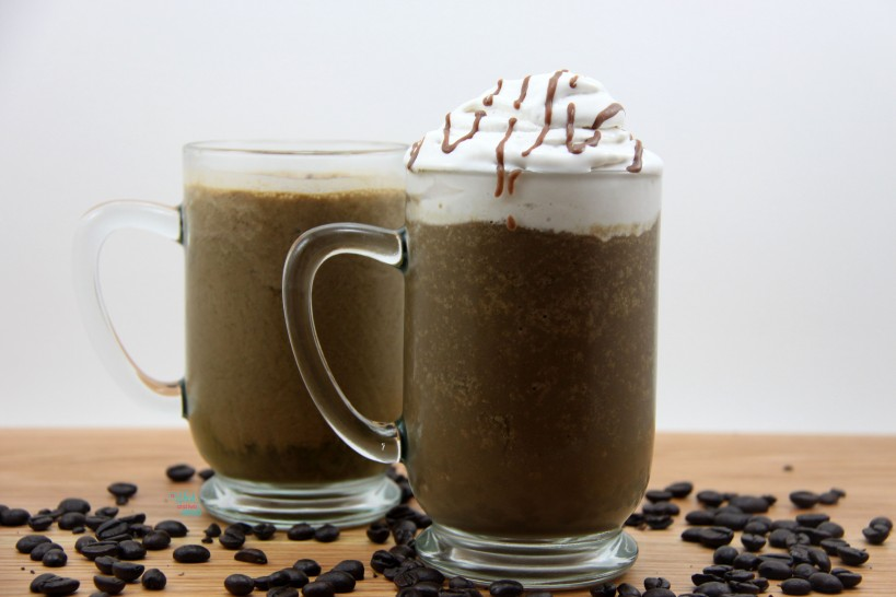 Mocha To The Max Protein Shake topped with Coco Whip and Chocolate Brownie CocoNutter Coconut Butter Drizzle