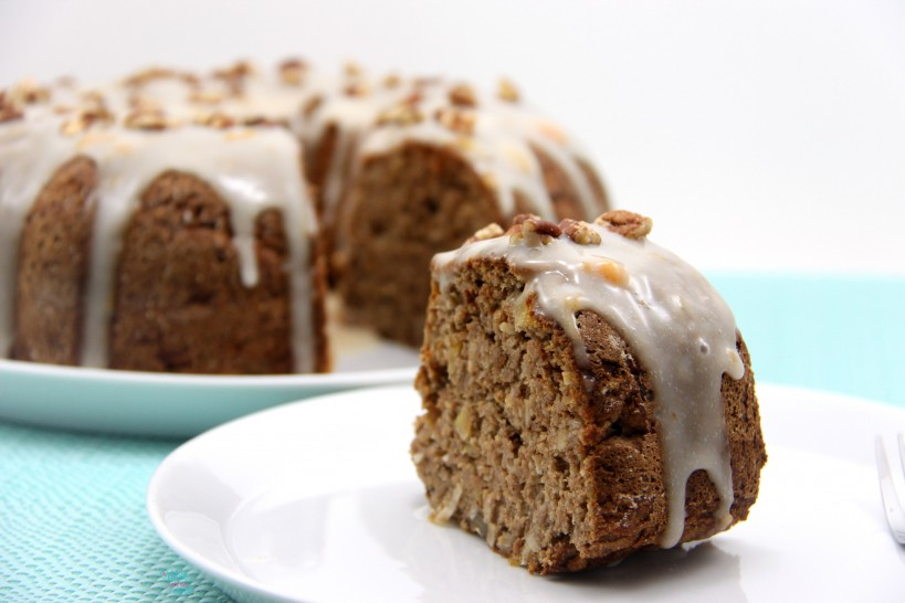 Hummingbird Cake with Apricot Coconut Milk Drizzle and chopped pecans