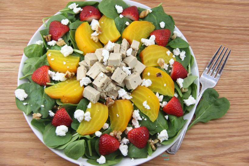 Strawberry Beet Chicken Spinch Salad