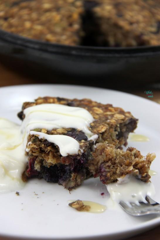 BBlueberry Muesli Breakfast Cake with yogurt and honey