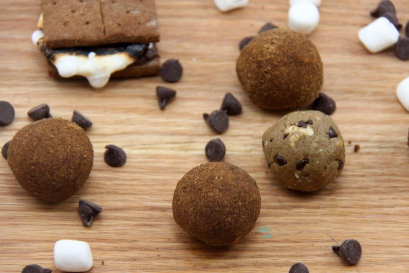 S'more Power Balls (vanilla protein, almond butter version)