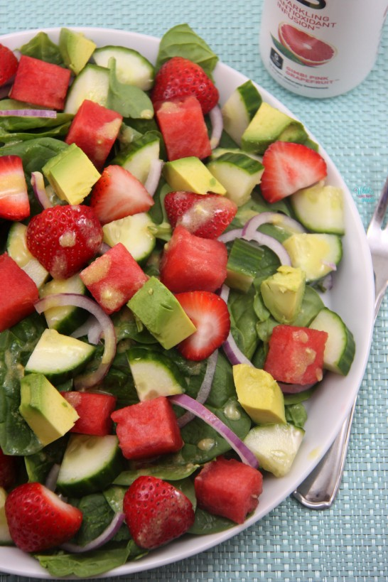 Strawberry Watermelon Cucumber Spinach Salad with Avocado