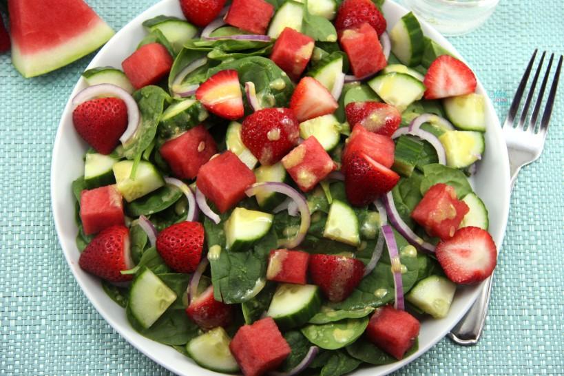 Strawberry Watermelon Cucumber Spinach Salad