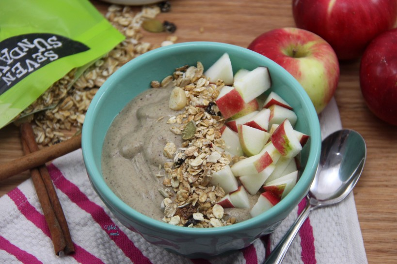 Easy as Apple Pie Smoothie Bowl topped with muesli and chopped apples.