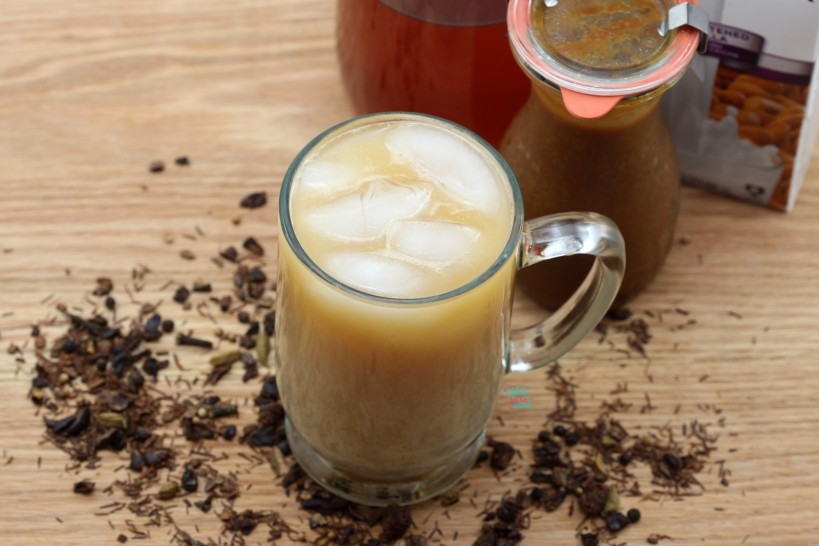 Iced Pumpkin Chai Latte Made with homemade pumpkin syrup.