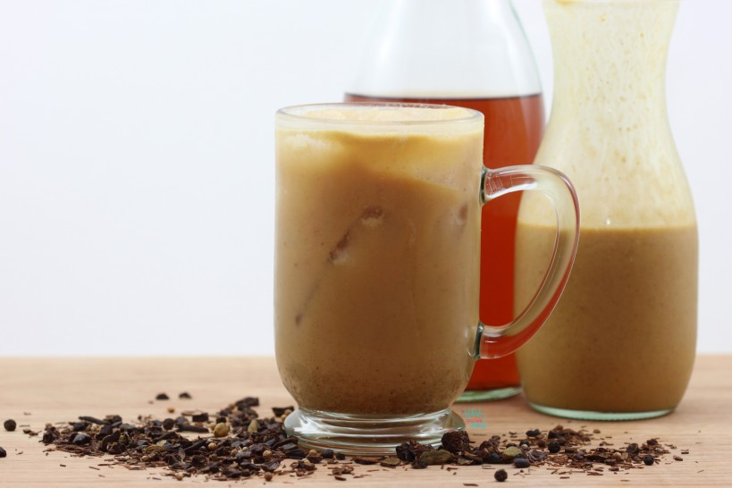 Iced Pumpkin Chai Latte Made with homemade dairy free pumpkin milk.