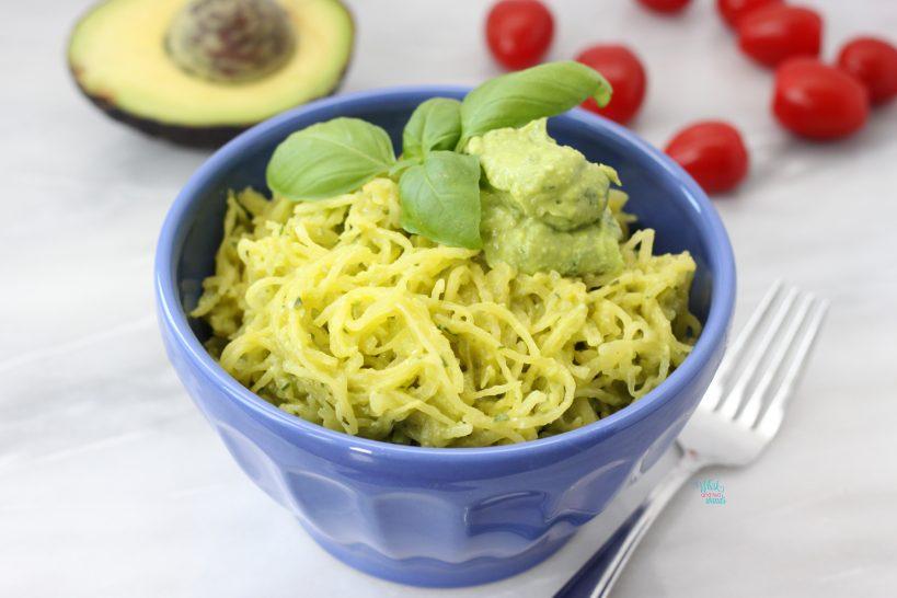 Avocado Pesto Spaghetti Squash (gluten free, vegan, paleo)