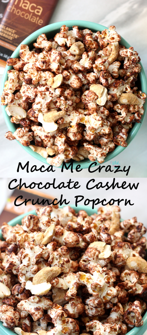 Popcorn, chocolate, cashews, with a superfood boost! Quick and easy this vegan and gluten free snack will get your next movie night poppin!