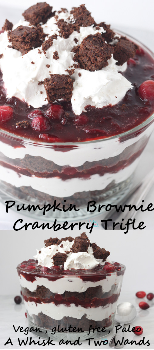Delicious Pumpkin Brownie Cranberry Trifle is a perfect dessert for the holidays! Vegan, gluten free, soy free, dairy free, egg free, and paleo