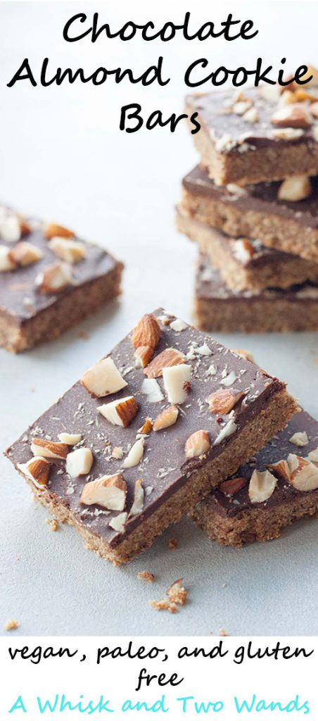Quick and delicious Chocolate Almond Cookie Bars are gluten free, vegan, and paleo friendly.