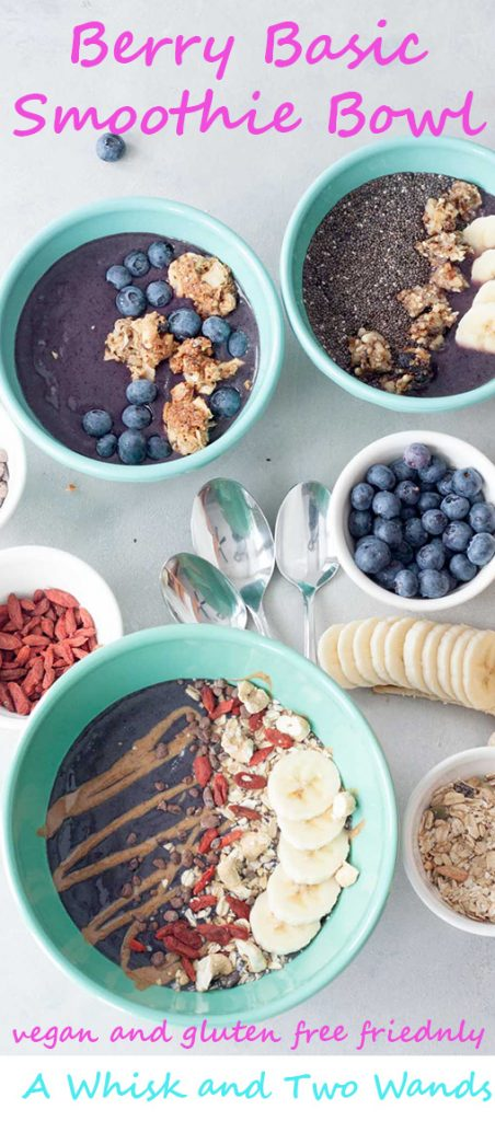 The basic easy to make whole food smoothie bowl that you customize with your favorite add-ins and toppings! Kid and mom loved and approved!