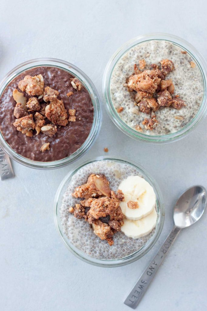 Salted Peanut Chocolate Cluster Chia Puddings, A Whisk and Two Wands