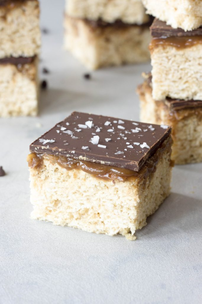 A Whisk and Two Wands, SuperCali Sea Salt Chocolate Caramel Crispy Bars