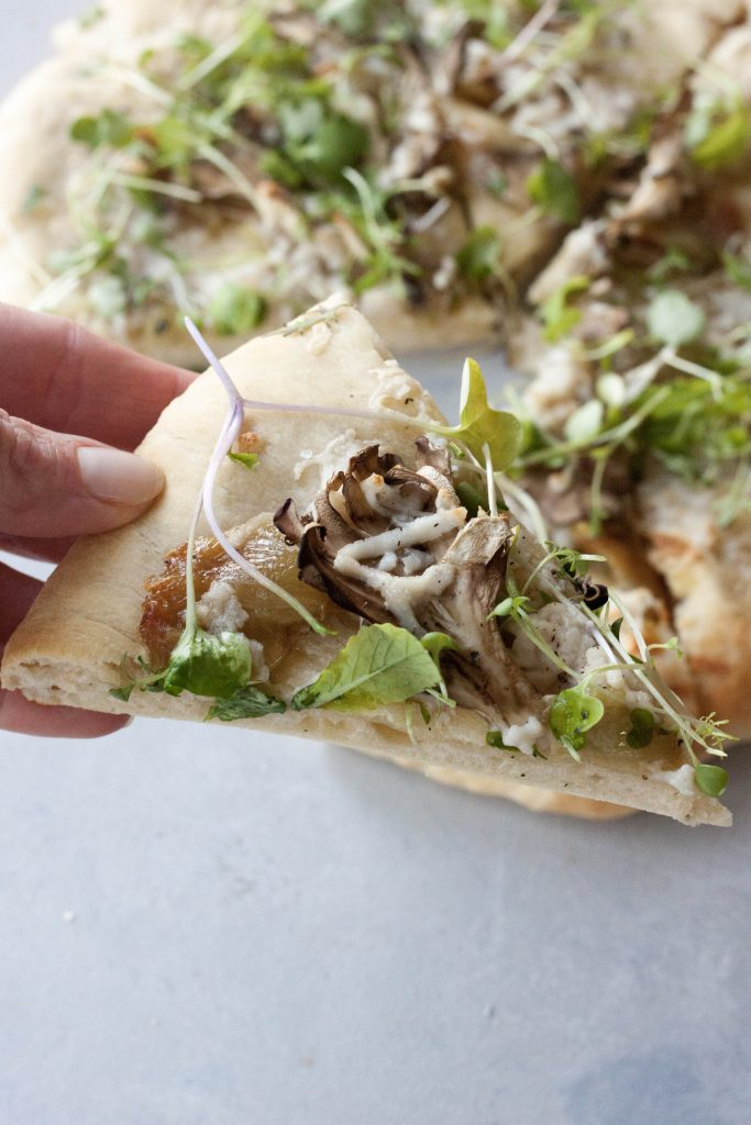 A Whisk and Two Wands, Roasted Garlic Mushroom Sourdough Pizza