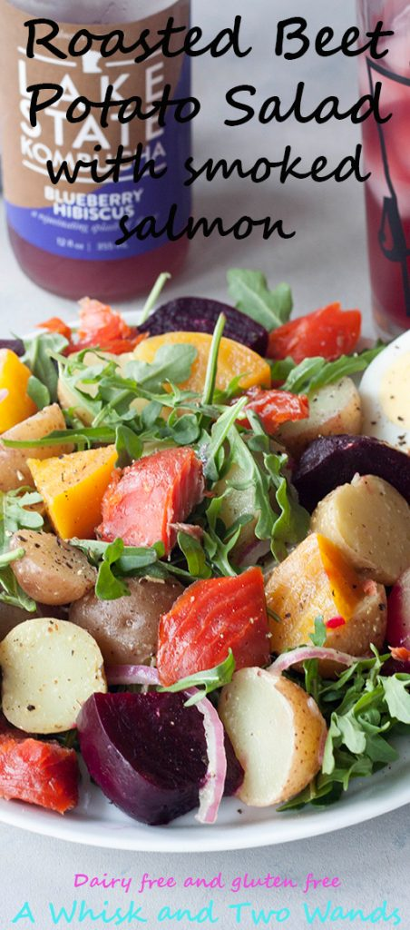 Roasted Beet Potato Salad isn't your grannys potato salad, this colorful salad has spunk, added nutrition, and it's own beet. This verision with added smoked salmon. A Whisk and Two Wands