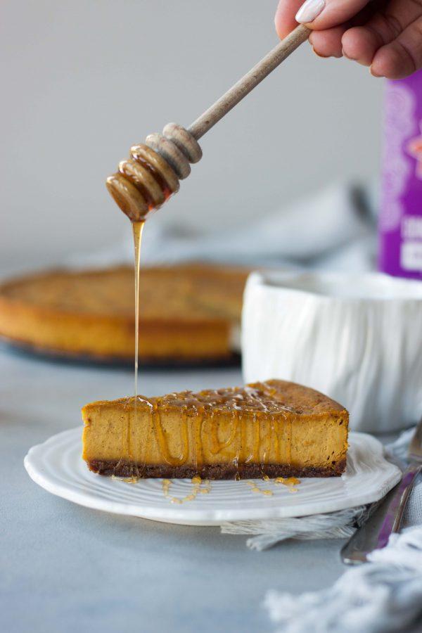 Vegan Baked Pumpkin Chai Cheesecake