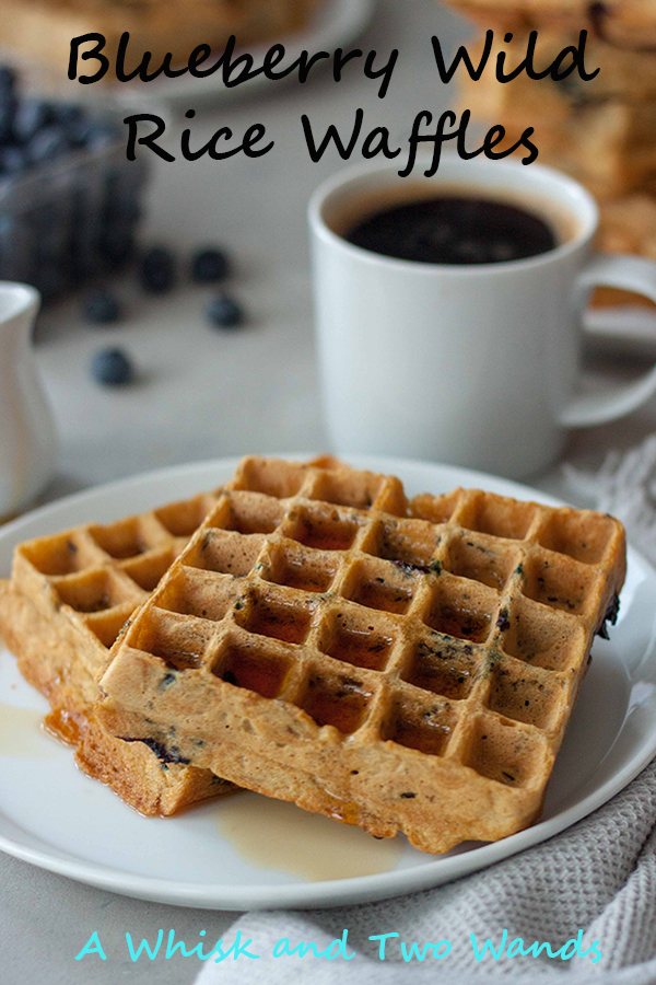 Blueberry Wild Rice Waffles Maple Syrup Coffee