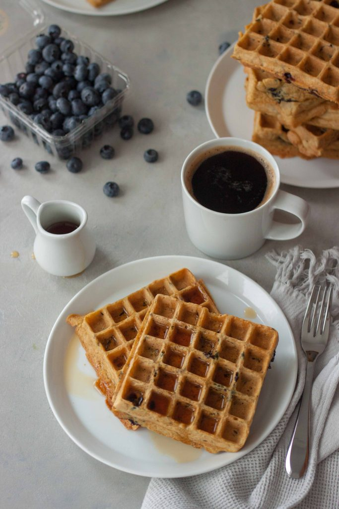 Blueberries Wild Rice Waffles Coffee
