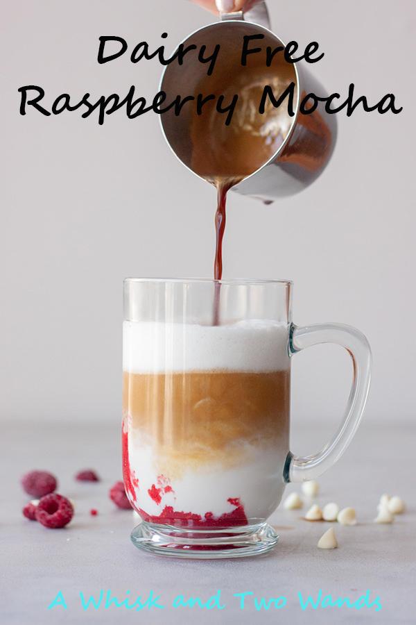 Pouring espresso Dairy Free Raspberry Mocha