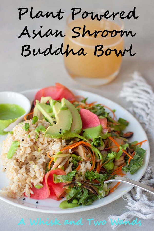 Asian Rice, Greens, plate, fork, salad, kombucha