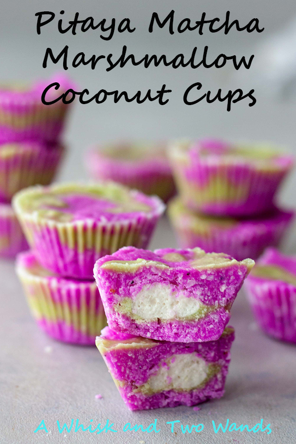 Pitaya Matcha Marshmallow Coconut Cups are simple delicious treat that's healthy and fun! Packed with healthy fats and fiber, low in sugar and carbs, they are gluten free, vegan, and paleo friendly.