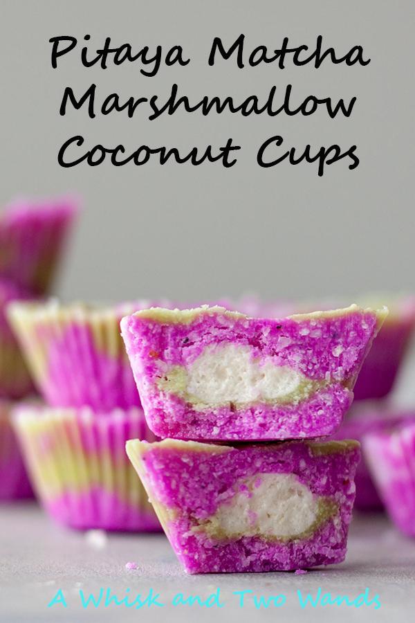 Pitaya Matcha Marshmallow Coconut Cups