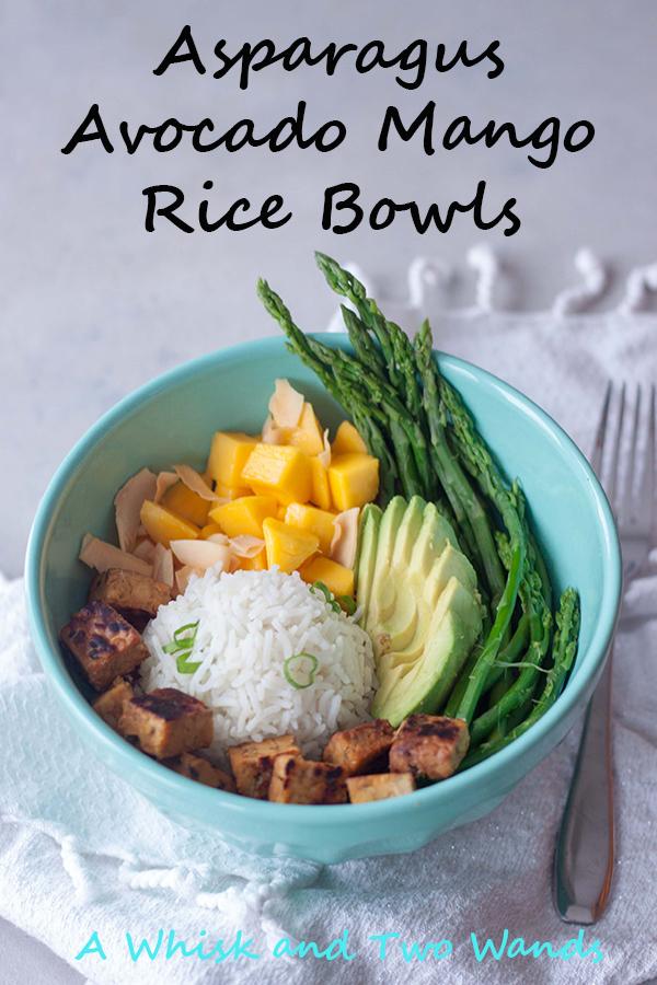 Asparagus Avocado Mango Rice Bowl with hempeh (tempeh with hemp seeds).