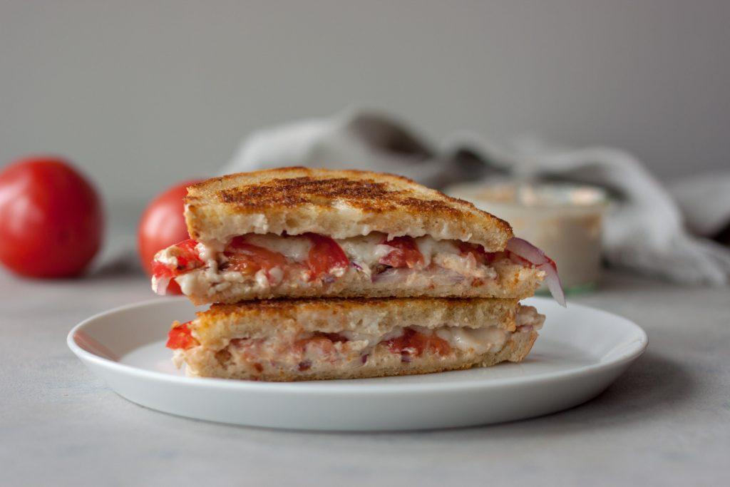 Vegan Grilled Cheese Tomato Sandwich