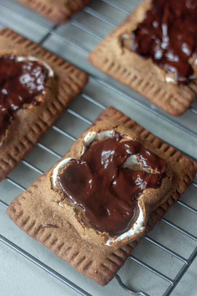 Gluten Free Vegan S'mores Pop Tarts with chocolate ganache