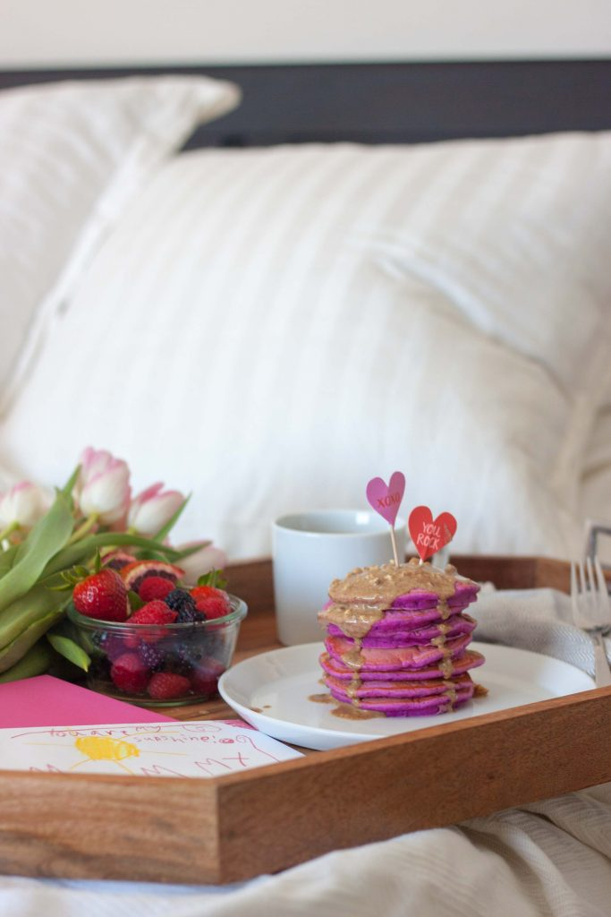 Pretty In Pink Pitaya Pancakes in bed