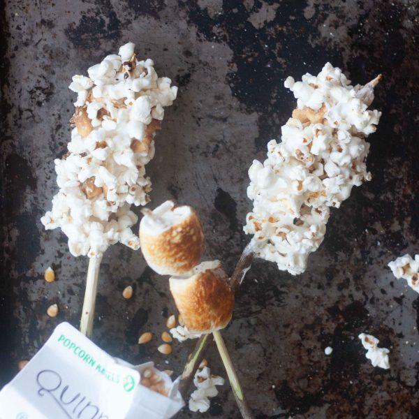 Roasted Marshmallow Popcorn on a Stick