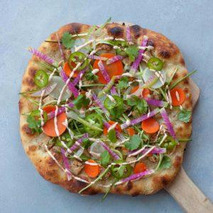 Vegan chicken spicy veggie pizza