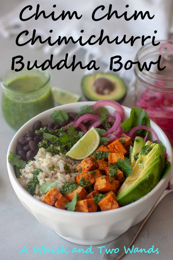 Chim Chim Chimichurri Buddha Bowls are flavor and nutrition packed bowls perfect for dinner or lunch. Rice, beans, chipotle roasted sweet potatoes, spainch, pickled onions, avocado, drizzled with fresh bright Chimichurri Sauce! Gluten free and vegan they are sasy to prep ahead for an easy weeknight dinner or lunch.