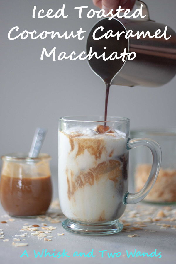 Rich, creamy, nutty, and a little toasty Toasted Coconut Milk, buttery sweet (vegan) caramel, layered with espresso and served over ice brings this Iced Toasted Coconut Caramel Macchiato to the next level!