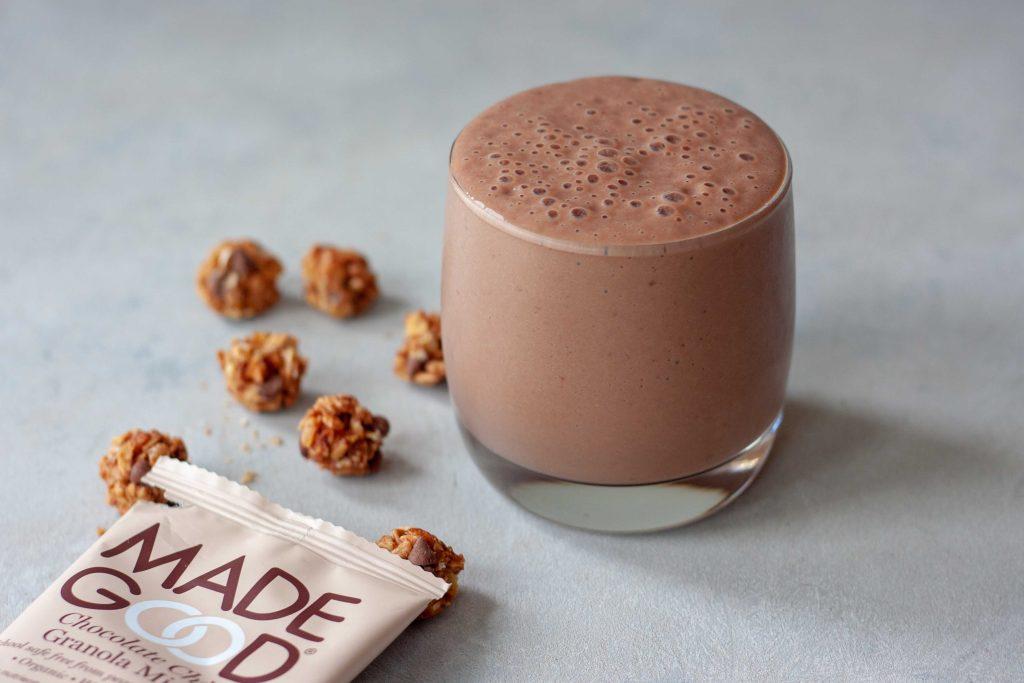 chocolate smoothie with granola minis