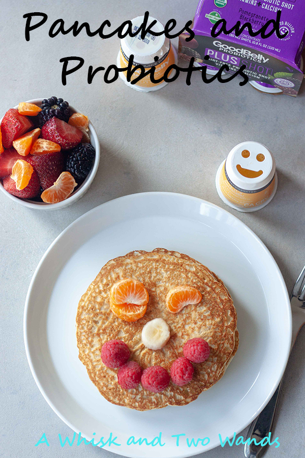 Pancakes and Probiotics make us happy! Simple and delicious Oatmeal Pancakes to start your day right. Oats are a good for your gut food and have many other healthy benefits. Since pancakes, and probiotics, make us happy we added a smile on top with fresh fruit and paried with a GoodBelly probiotics. Gluten free, dairy free