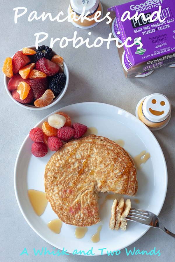 Pancakes and Probiotics, Simple and delicious Oatmeal Pancakes to start your day right. Oats are a good for your gut food and have many other healthy benefits. Since pancakes, and probiotics, make us happy we added a smile on top with fresh fruit and paried with a GoodBelly probiotics. Gluten free, dairy free